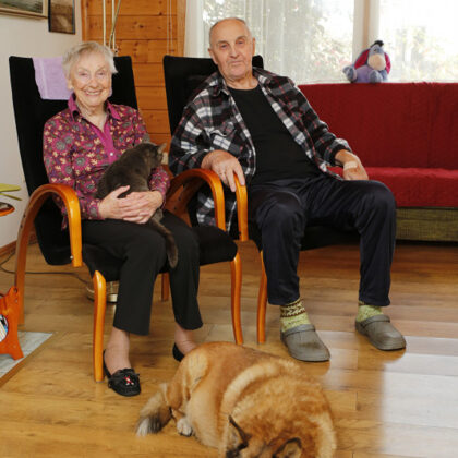 Velta Skurstene-Lāce ar vīru Visvaldi Lāci 2020. gadā (foto no www.nra.lv)
